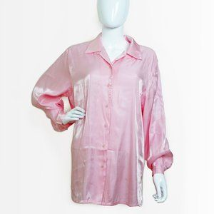VINTAGE Pink Iridescent Button Up Blouse S/M